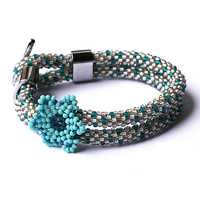 Wild flower bracelet - bead crochet rope - beaded bracelet - seed beads jewelry - turquoise wrap bracelet - bridesmaid bracelet 2014 trends