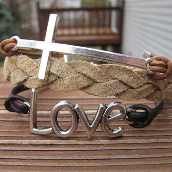 Silver Love and  Cross Brown Leather Charm Wrap Bracelet