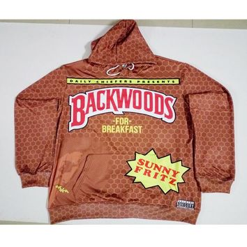 Real American size backwoods for breakfast 3D Sublimation Print OEM  Hoody/Hoodie  Custom made Clothing plus size