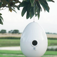 Ceramic Bird House - White