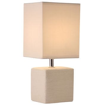 Light Accents Table Lamp Side Table Lamp with Square Fabric Shade Off White Finish