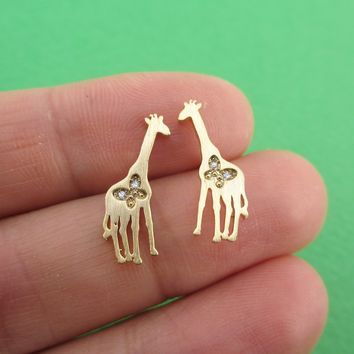 Giraffe Silhouette Shaped Allergy Free Stud Earrings with Butterfly Detail in Gold