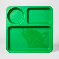 "10"" Plastic Kids Square Divided Plate Green - Pillowfort™"