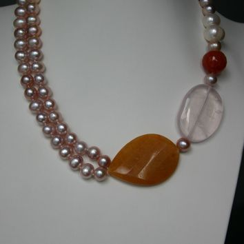 Lavender Freshwater Pearl Necklace with Yellow Jade Rose Quartz And Red Agate Gemstones