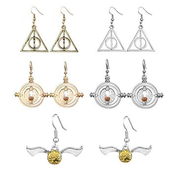 Deathly Hallows Golden Snitch Harry P Earrings Charm Silver & Gold Color Hogwarts Earrings for women wedding Jewelry Party Gifts