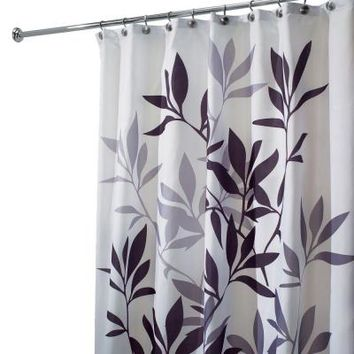 interDesign Leaves Shower Curtain in Black and Gray-35620 at The Home Depot