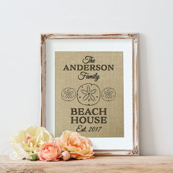Beach Wall Decor on Burlap | Monogram Beach Print | Beach Decor | Personalized Nautical Print | Beach House Decor | Vacation Home