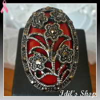 Authentic Turkish Ottoman Style Flower Filigreed Ring With Marcasite Stones. Ring Number Is 7 In US Size.