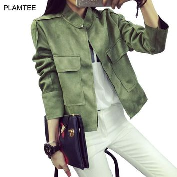 Women's Jackets Early Retro Suede All-Match Military Coat 6 Colors S~L
