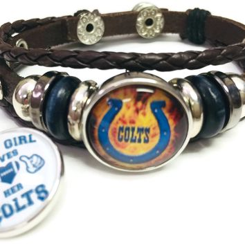 NFL Flaming Blue Horseshoe & Girl Loves Her Indianapolis Colts Bracelet Brown Leather Football Fan W/2 18MM - 20MM Snap Charms New Item