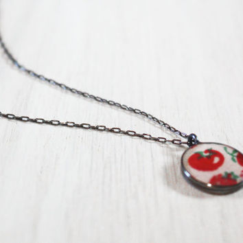 Tomato Necklace - vegan vegetarian garden vegetable upcycled 1950s resin charm on delicate sterling silver chain - vintage fabric jewelry