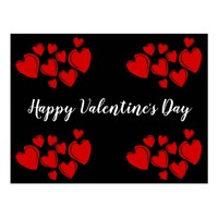 Red Hearts Happy Valentine's Day Postcard