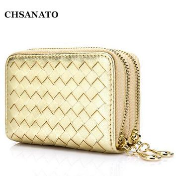 CHSANATO Brand Weave Woman Wallets Luxury Genuine Leather Women Double Zippers Card Holder Coin Purses