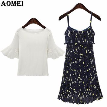 New White Chiffon Blouse with Pleat Slip Dress 2 Piece Set for Women Summer Fashion Junior Girls Office Lady Lolita Suits