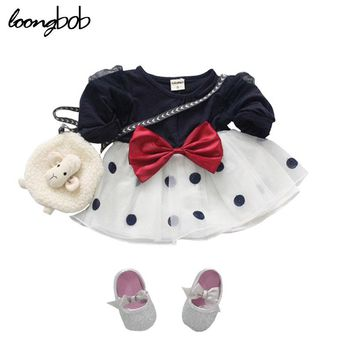 Baby Girls Princess Dress Newborn Spring Autumn Infant Chiffon Dress Big Bow-Knot Kids Polka Toddler Long Sleeve Clothes 1 pc