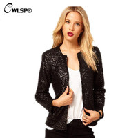 New Arrival Slim Blazer Female Suit Jacket Fashion Sequin Patchwork Long Sleeve Spring Autumn Outwear Women Black Blazers QL1270