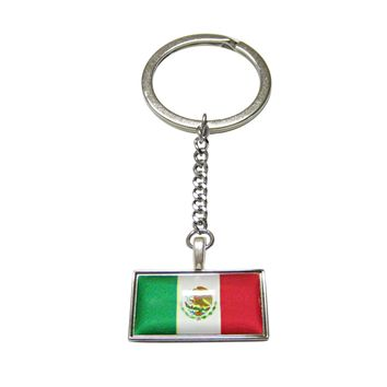 Thin Bordered Mexico Flag Pendant Keychain