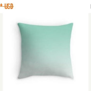On Sale Ombre Lucite Green Mint Pillow Cover Gradient Cushion Teal Ombre Shades Pantone 2015 16x16, 18x18, 20x20