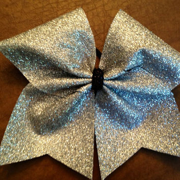 Cheer Bow - Silver Glitter