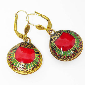 Art Deco Enamel Cloisonne Earrings for Pierced Ears - Red, Green & Gold Tone Dangling Circle - Vintage 1930's 1940's - Etruscan Abstract