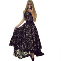 Vestidos Longs New 2016 Black And White Sexy Women Sleeveless Prom Ball Party Long Maxi Long Lace Dress Q0081