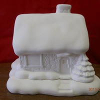 Snow Mansion with Base * Christmas Village Scenes  *Ceramic Bisque*U-Paint