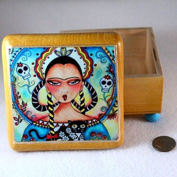 Jewelry Keepsake Box, Day of the Dead Frida and Cat Art Wood Box, OOAK Decoupaged Mexican Art, Ring Earring Holder Pink Blue