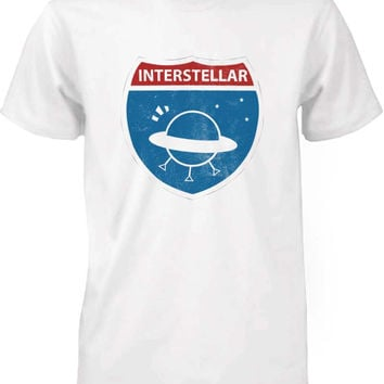 Funny Graphic Statement Mens White T-shirt - Interstellar