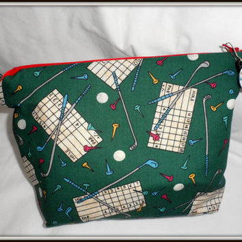 Large  VINTAGE GOLF  NOVELTY Themed Fabric - Zippered Bag