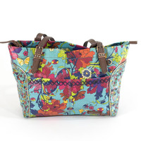 The Sak Colorful Floral Waxed Canvas Tote Bag Summer Purse