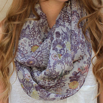 Floral Scarf Infinity Scarf Circle Scarf Eternity by PoePoePurses