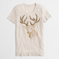 Factory beaded reindeer graphic tee