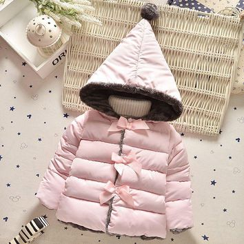 2017 New Winter Kids Clothes Outerwear Baby Girl Warm Clothes Toddler Parkas Newborn Fashion Hooded Children Girls Clothing