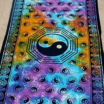"Hippie/Indian Tapestry/Wall/Curtain Tie Dye Yin Yang 44"" x 88"" CT62TD"