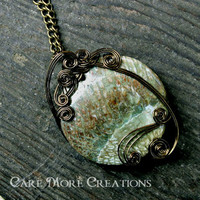 Snakeskin Jasper Wire Wrapped Pendant Necklace in Antique Bronze