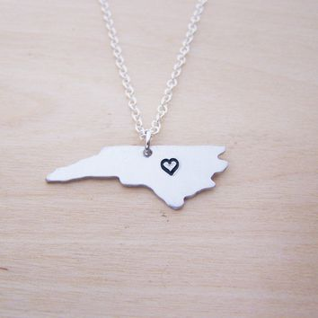 Hand Stamped Heart North Carolina State Sterling Silver Necklace / Gift for Her