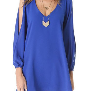 Blue Chiffon Cut-Out Sleeve Shift Dress