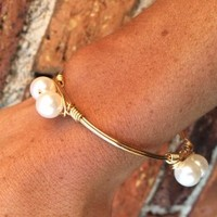 Krista K Stone & Wire Bangle - Pearl - Bracelets - Jewelry