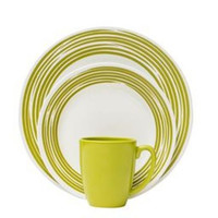 Corelle Boutique Brushed 16-Pc Dinnerware Set, Green
