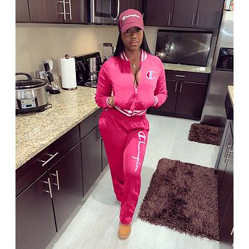 ''Champion '' Women Casual Multicolor Letter Pattern Print Long Sleeve Trousers Set Two-Piece