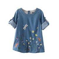 Girl Denim Dress 2017 Christmas Children Clothing Autumn Cute Kids Girls Clothes Butterfly Embroidery