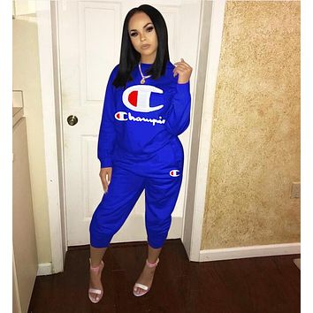 Champion Popular Women Leisure Embroidery Long Sleeve Top Pants Set Two-Piece Sportswear Blue