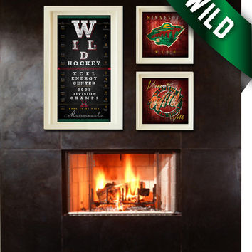 Minnesota Wild Map 3-Piece Hat Trick Combo - Perfect Christmas, Birthday Gift - Unframed Prints