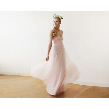 Blush pink maxi ballerina tulle dress 1061