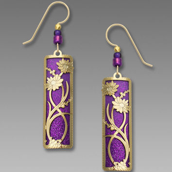 Adajio Earrings - Deep Purple Ombre with Gold-Plated Floral Overlay