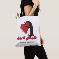 I Love You More! - Penguin Red Hearts Personalized Tote Bag