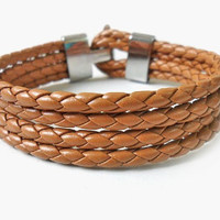 Jewelry bangle leather bracelet buckle bracelet women bracelet girls bracelet woven Bracelet made of leather and metal buckle   SH-0299