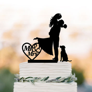 Mr And Mrs Wedding Cake topper with dog, Bride and groom silhouette funny wedding cake topper with heart, Funny Wedding cake topper