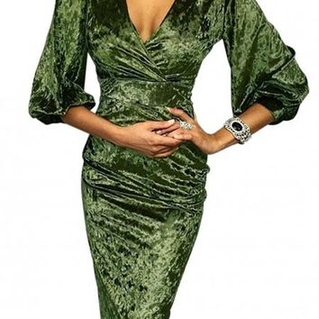 Green Glistening V Neck Velvet Midi Dress