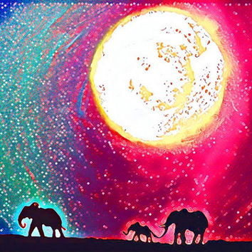 elephant illustration picture animal canvas art Original print Landscape rainbow Giclee wall abstract nursery gift for her Collectibles